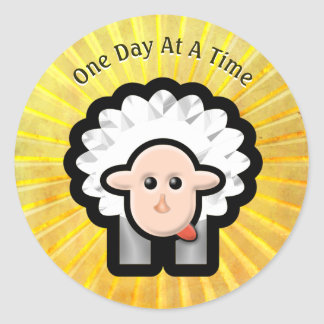 12-Step Lamb in Sunshine - Personalized Round Sticker