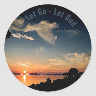 12-Step Sunset Over Lake Balaton - Personalized Round Sticker