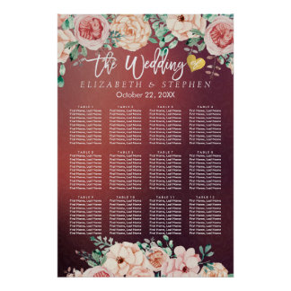 12 Table Burgundy Red Floral Wedding Seating Chart