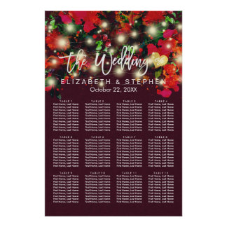 12 Tables Red Floral String Lights Seating Chart