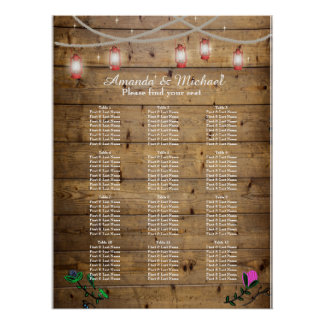 12 Tables Rustic Lantern Lights Seating Poster