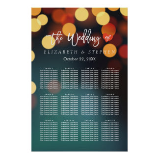 12 Tables Seating Chart Chic Teal Gold Bokeh Light