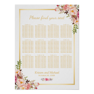 12 Tables Wedding Seating Chart Chic Floral Gold