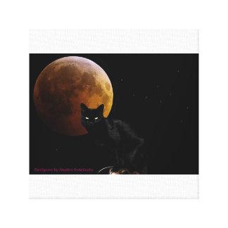 12 x 12 Black Cat  with blood moonCanvas Print. Canvas Print
