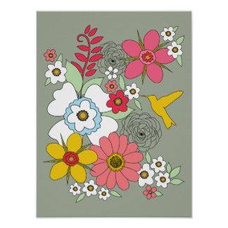 12 x 16 Wildflower Garden Hummingbird Poster