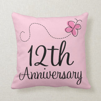 12th Anniversary Celebration Gift (butterfly) Pillow