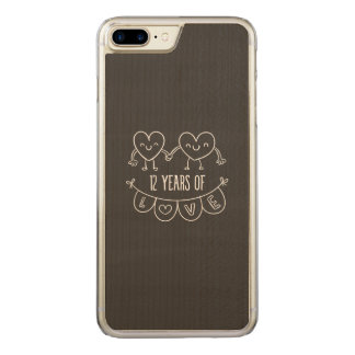 12th Anniversary Chalk Hearts Carved iPhone 7 Plus Case