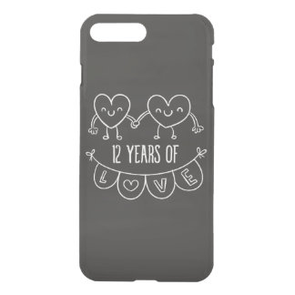 12th Anniversary Gift Chalk Hearts iPhone 7 Plus Case