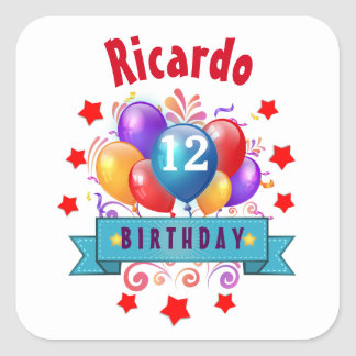 12th Birthday Festive Colorful Balloons B11BZ Square Sticker