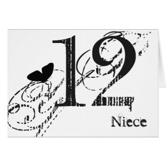 12th birthday for a niece, black butterfly, text. greeting card