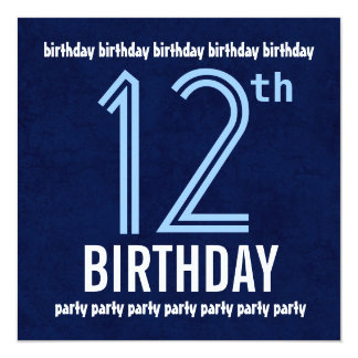 12th Birthday Party Modern Blue Recycled Card
