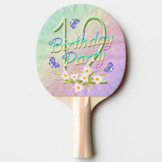 12th Birthday Party Rainbow and Butterflies Ping-Pong Paddle