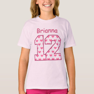 12th Birthday Pink Hearts Custom Name V025BN T-Shirt