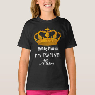 12th Birthday Princess Name Royal Crown v09J T-Shirt