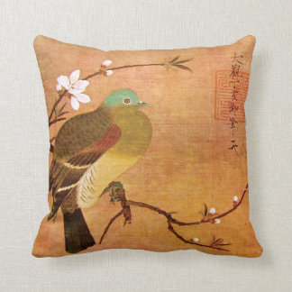 12th Century Dynasty Bird on a Peach Branch Throw Pillow