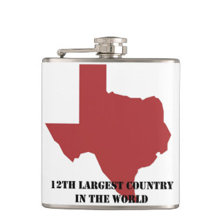 12th Largest Country Texas Flask