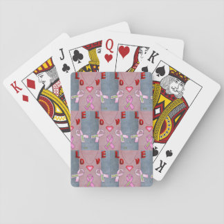 12th Quote; Love Wording & Breast Cancer Awareness Playing Cards