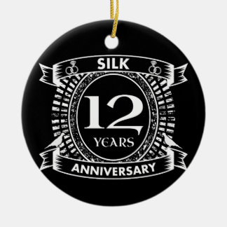12TH wedding anniversary silk Ceramic Ornament