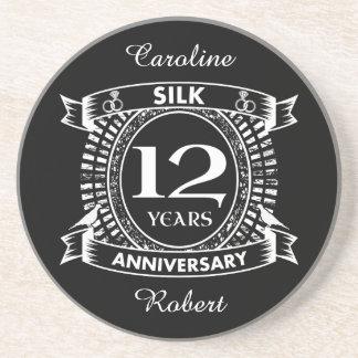 12TH wedding anniversary silk Coaster
