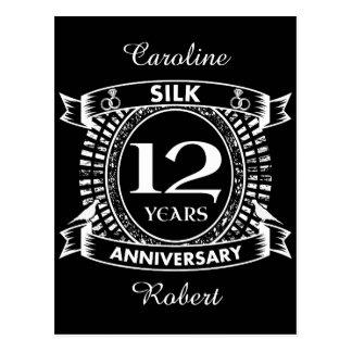 12TH wedding anniversary silk Postcard
