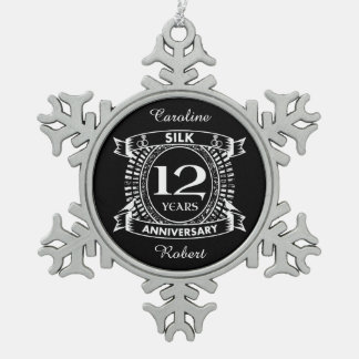 12TH wedding anniversary silk Snowflake Pewter Christmas Ornament