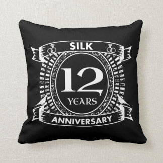 12TH wedding anniversary silk Throw Pillow