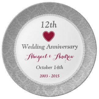 12th Wedding Anniversary Silver Damask W10B Porcelain Plate