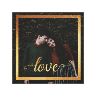 12x12 Love Type and Modern Gold Frame Canvas Print