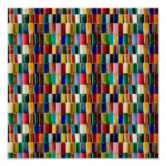 """12x12"""" TILE Poster Colorful Embossed look Line Art"""