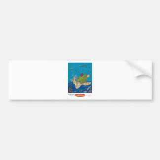#131 8x10  Hitching a ride on a sea turtle Bumper Sticker