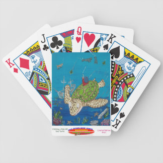 #131 8x10  Hitching a ride on a sea turtle Poker Deck