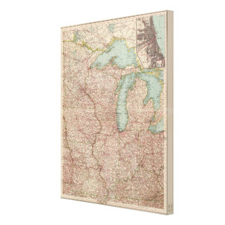 13435 Mich, Wis, Minn, Ia, Mo, Ill, Ind, Ky Gallery Wrap Canvas