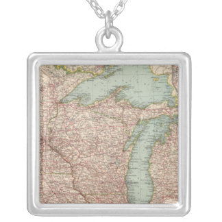 13435 Mich, Wis, Minn, Ia, Mo, Ill, Ind, Ky Square Pendant Necklace