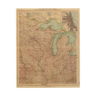 13435 Mich, Wis, Minn, Ia, Mo, Ill, Ind, Ky Wood Print