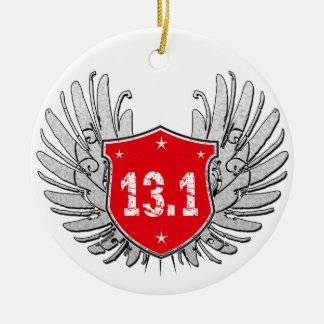 13.1 Half-Marathon Shield Ceramic Ornament