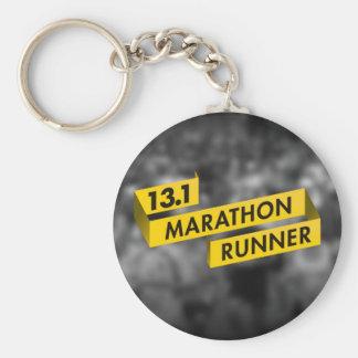13.1 Marathon Runner Ribbon Yellow Keychains