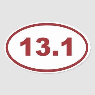 13.1 maroon red oval sticker