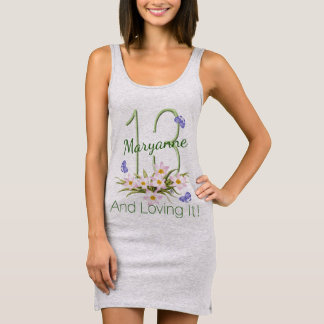 13 And Loving It Purple Butterflies Custom Sleeveless Dress
