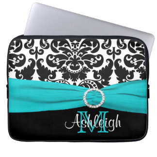 "13"" Aqua Black White FAUX Ribbon Laptop Sleeve"