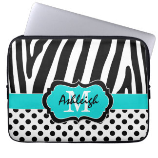 "13"" Aqua Black Zebra Stripes Polka Dot Laptop Case Laptop Sleeve"