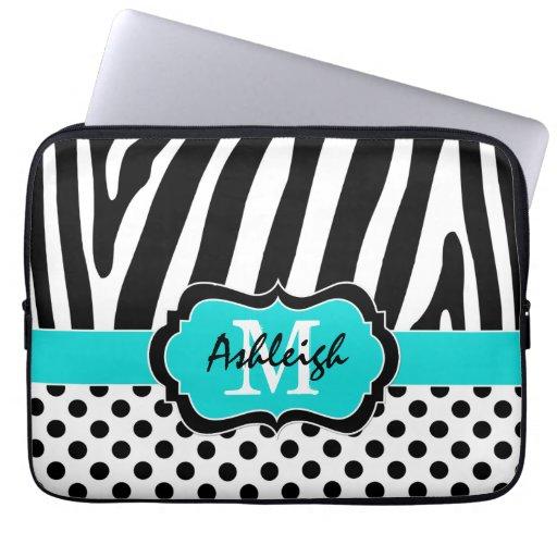 "13"" Aqua Black Zebra Stripes Polka Dot Laptop Case Computer Sleeve"