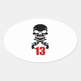 13 Birthday Designs Oval Sticker