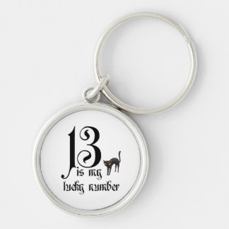 13 is my lucky number+black cat keychain