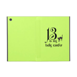 13 is my lucky number+black cat/Neon Case For iPad Mini