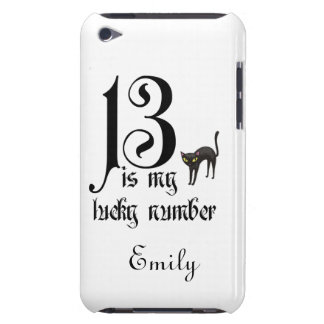 13 is my lucky number+black cat/Personalize Name Barely There iPod Case
