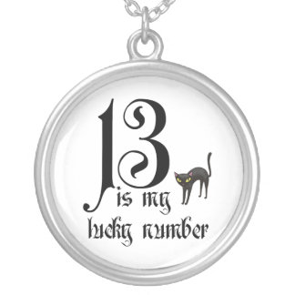 13 is my lucky number+black cat silver plated necklace