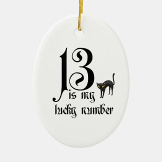 13 is my lucky number+cat ceramic ornament