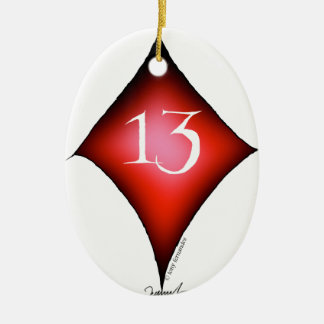 13 of diamonds ceramic ornament