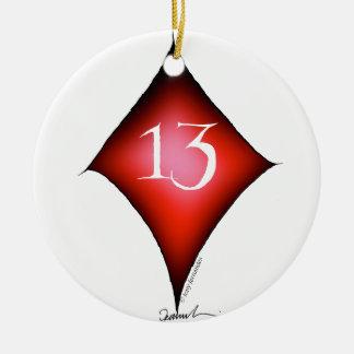 13 of diamonds ceramic ornament