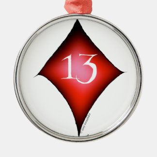 13 of diamonds metal ornament
